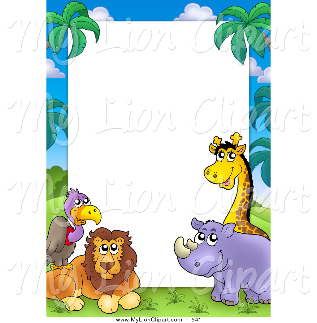 Pretty Border Frame Of A Vulture Lion Rhino And Giraffe Around White