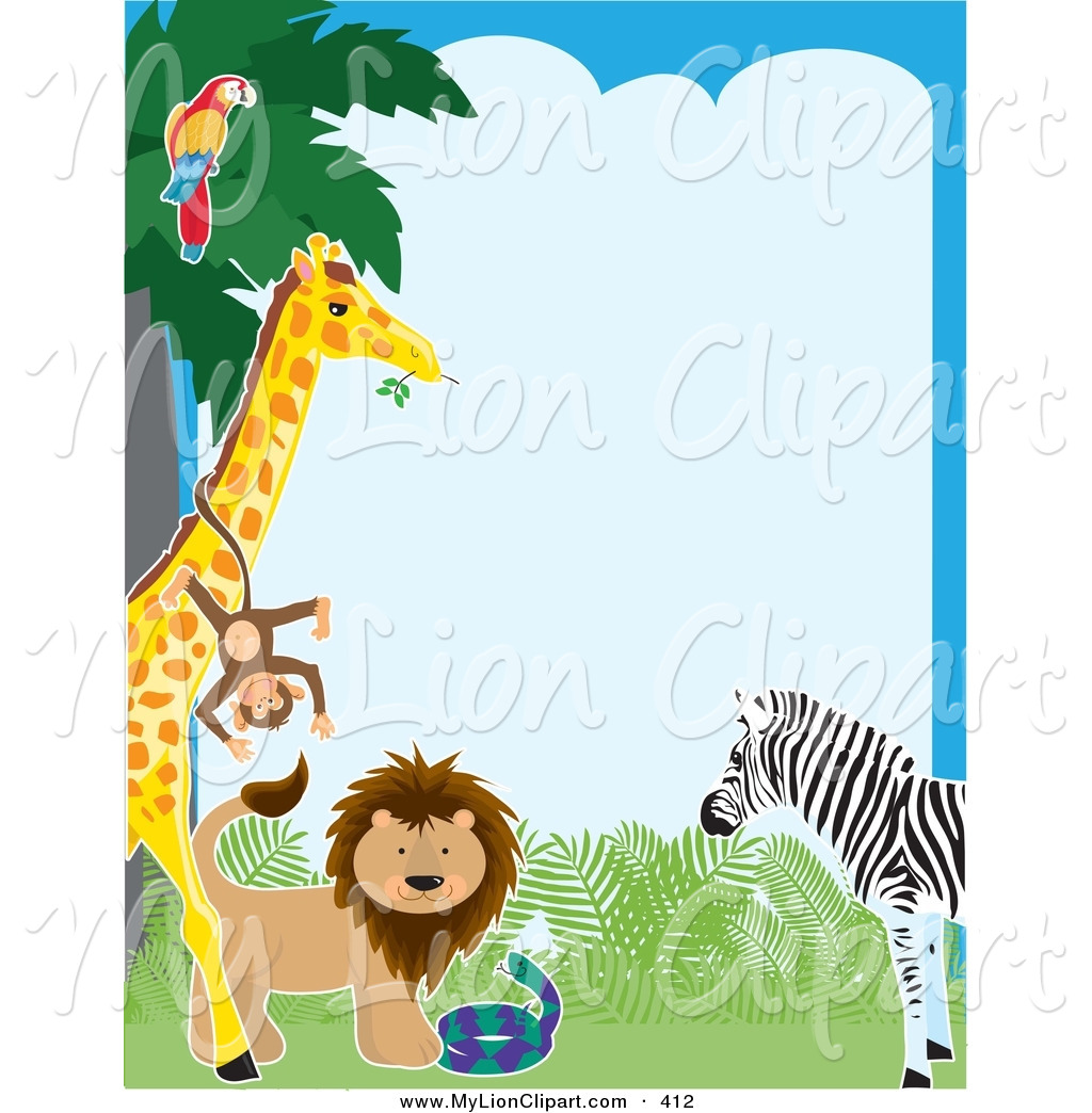 Pretty Border Of A Parrot In A Tree Monkey On A Giraffe Lion Snake