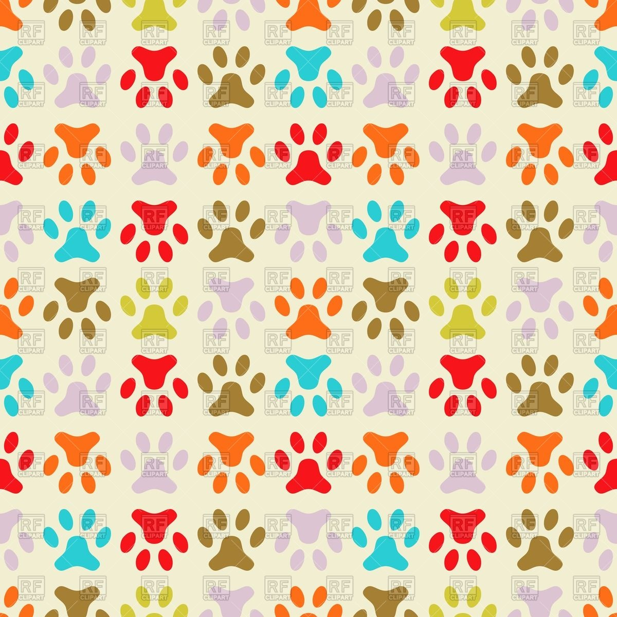 Wallpaper With Dog S Paw Prints Download Royalty Free Vector Clipart