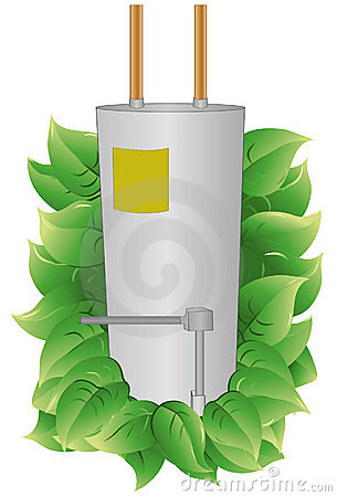 Water Heater With Leaves To Indicate Energy Efficiency  Water Heater