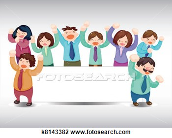 Art   Cartoon Happy Office Workers Card  Fotosearch   Search Clipart