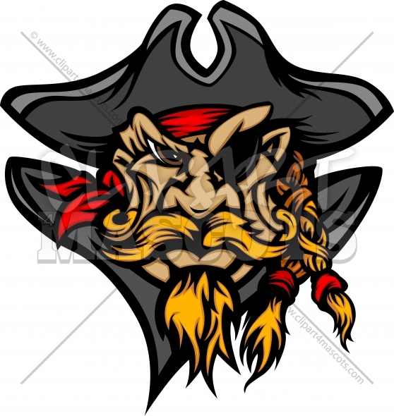 Cartoon Vector Image Of Pirate Mascot Wearing A Pirates Hat