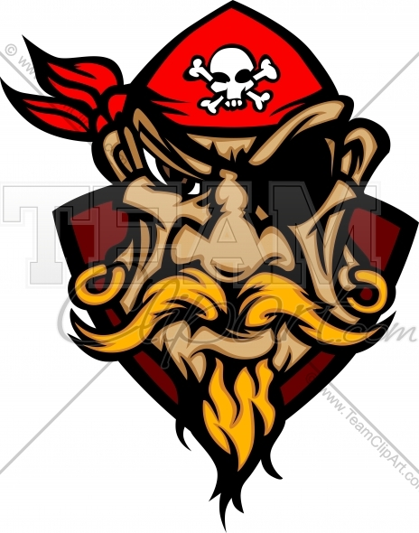 Pirate Cartoon Logo   Pirate Mascot With Bandana Vector Clipart