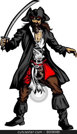 Pirate Mascot Standing With Sword And Hat Graphic Vector Illustration
