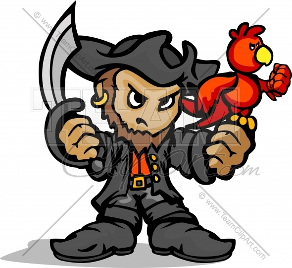 Pirate Mascot Standing With Sword Parrot And Hat Cartoon Vector