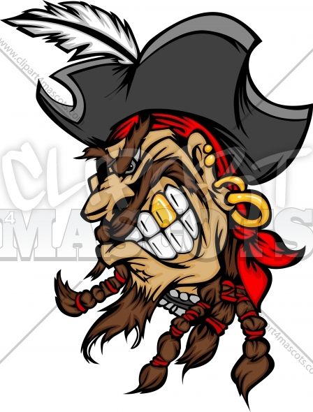 Pirate Mascot With Hat Cartoon Vector Image   Clipart 4 Mascots