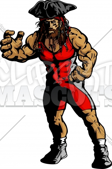 Pirate Wrestling Clipart Vector Graphic   School Wrestling Clipart