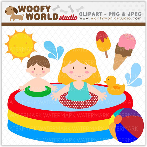 Summer Splash Pool And Beach Clipart   Instant Download   Digital Clip