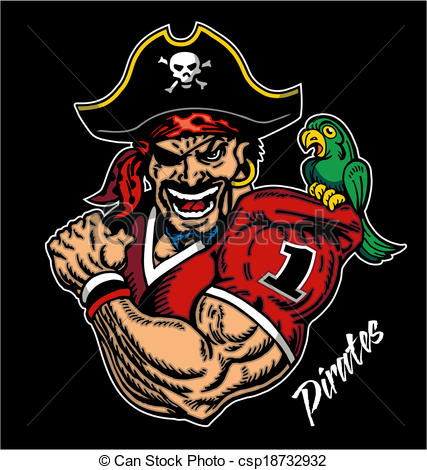 Vector   Pirate Football Mascot   Stock Illustration Royalty Free