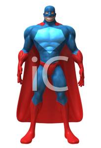 Action Figure Wearing A Mask And Cape   Royalty Free Clipart Picture