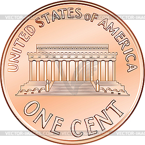 American Coin One Cent Penny   Vector Clip Art