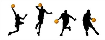 Basketball Action Figure Silhouettes Vector Material