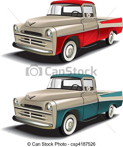 Clip Art Vector Of 50s Styles Pickup   Vectorial Icon Set Of American
