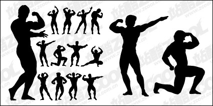 Clip Arts   Bodybuilding Action Figure Silhouette Vector Material