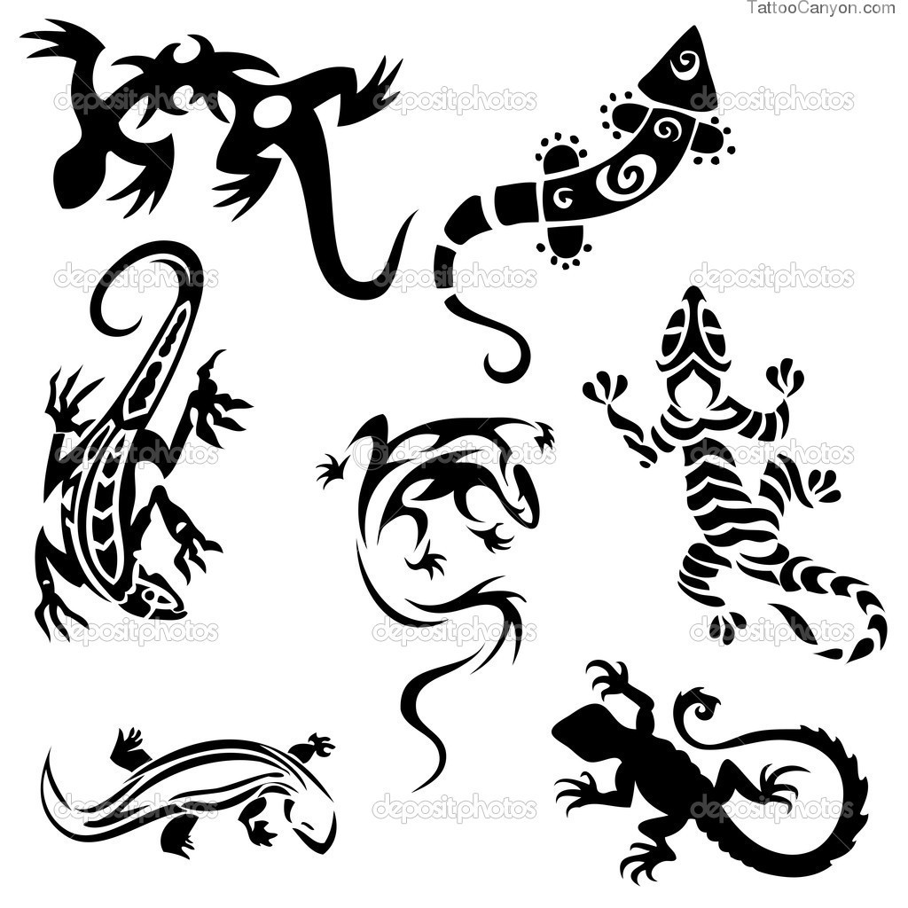 Chameleon Outline Tattoo: Canyon Black And White Clipart