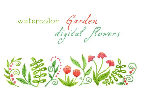 Digital Clipart Watercolor Flowers Watercolor Garden Floral Border