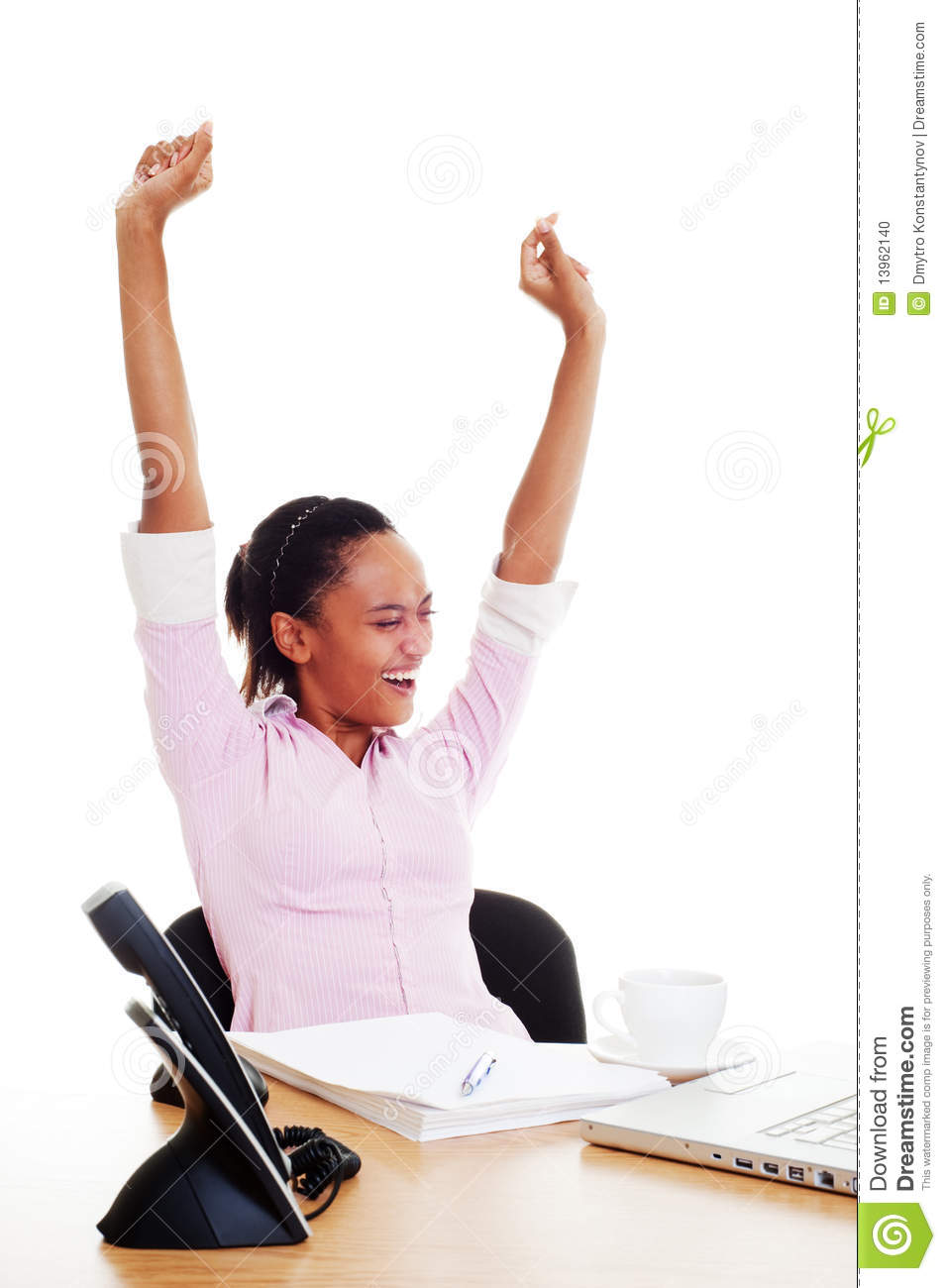 Happy Woman Finished Her Work Stock Photo   Image  13962140