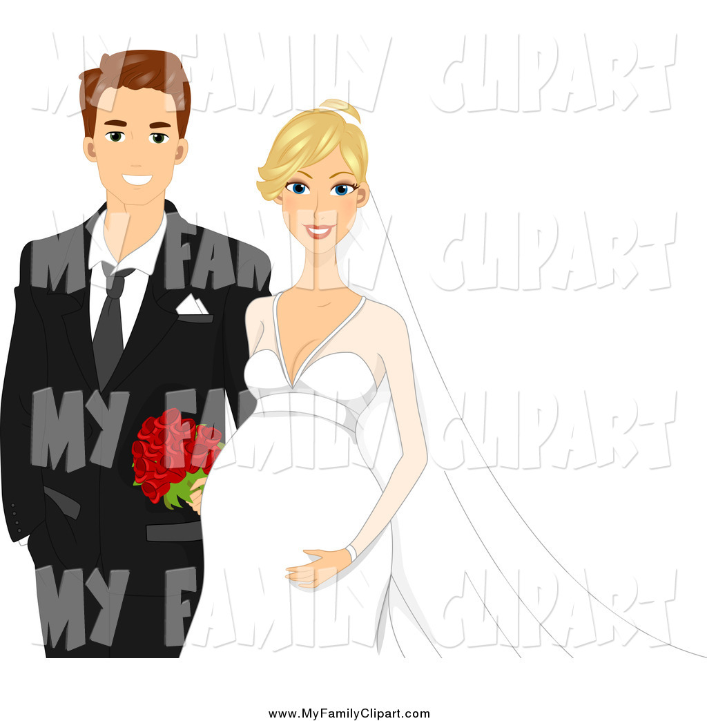 Larger Preview  Clip Art Of A Happy Expecting Wedding Couple By Bnp