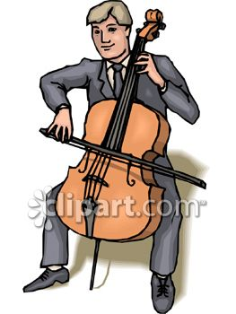Man Seated In A Suit Playing A Cello   Royalty Free Clipart Picture