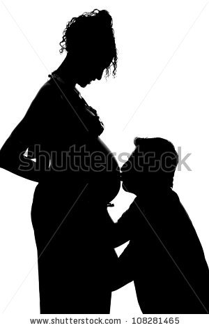 Silhouette Of Pregnant Mother And Father Isolated On White Background