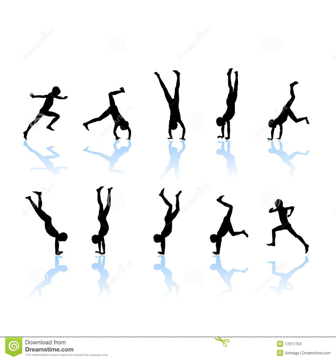 The Boy Somersault Jump There Is On Hands Silhouette Illustration
