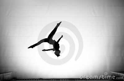 The Splits In Somersault On Trampoline Royalty Free Stock Image
