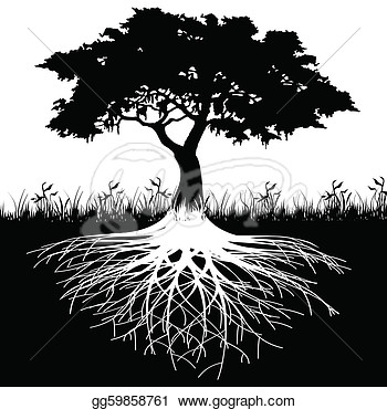 Tree Roots Silhouette  Stock Clipart Illustration Gg59858761   Gograph