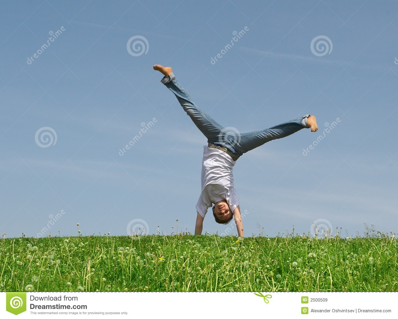 Young Pretty Girl Somersaults On A Green Grass On A Background Of The