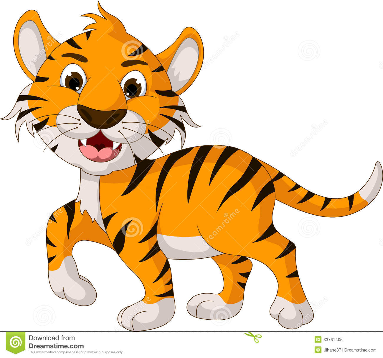 Funny Tiger Cartoon Walking Royalty Free Stock Photo   Image  33761405