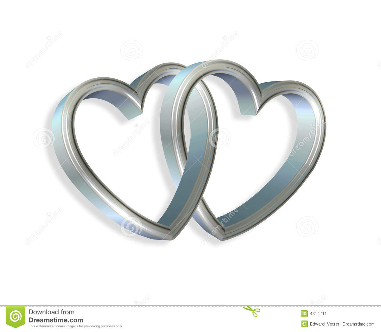 Linked Hearts Clipart Silver Blue Hearts Linked 3d