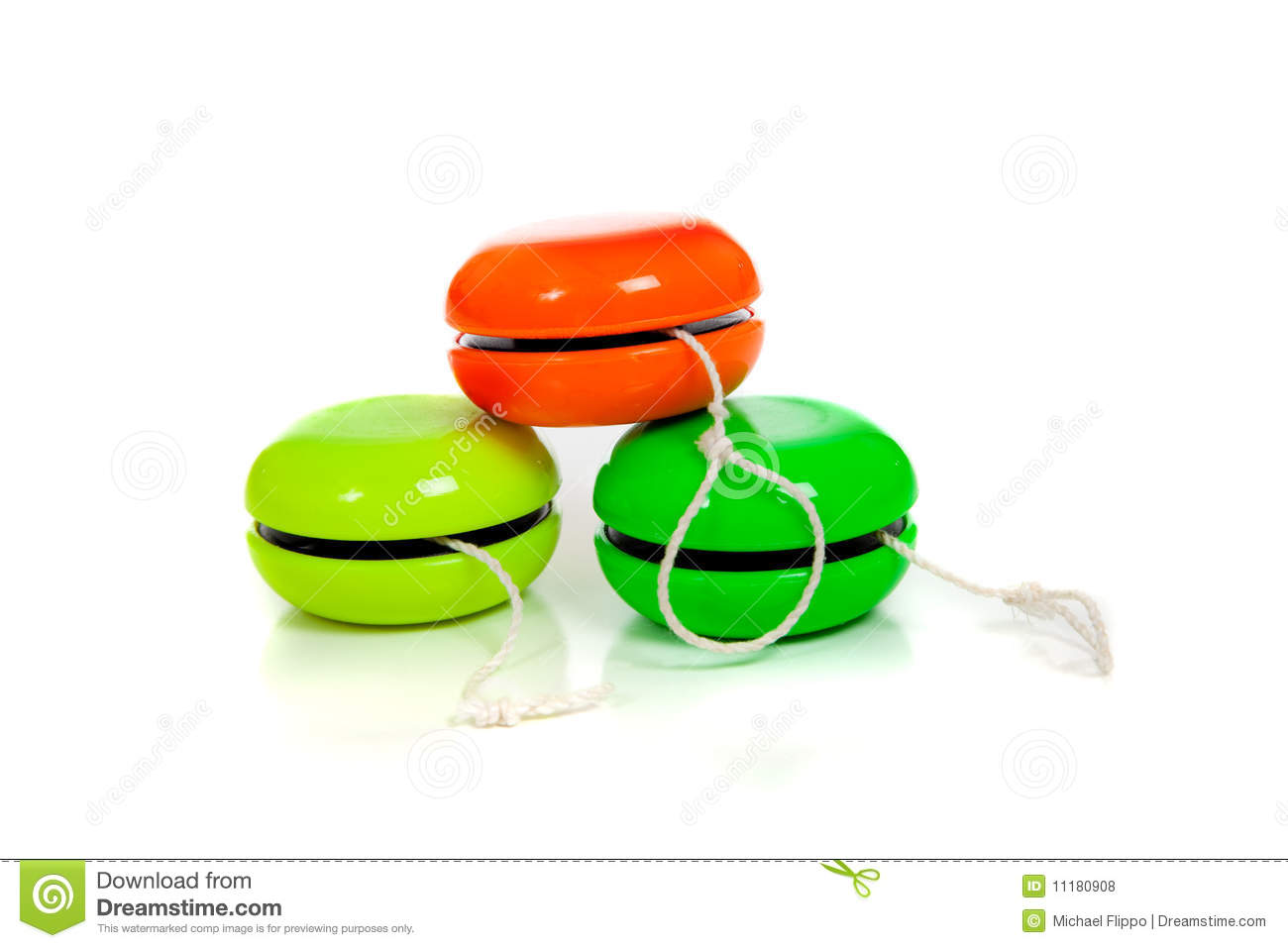Royalty Free Stock Photos  Green And Red Yoyos On A White Background