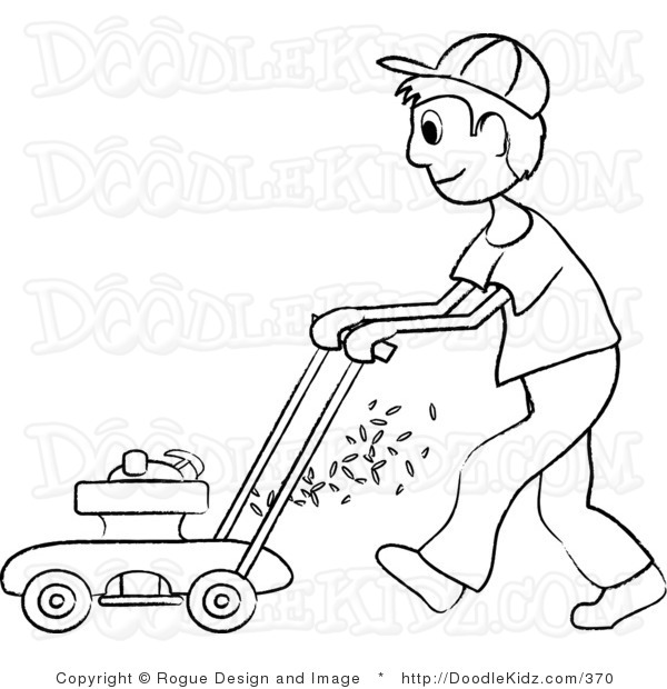 Art Illustration Of A Teenage Boy Mowing The Lawn In Black And White