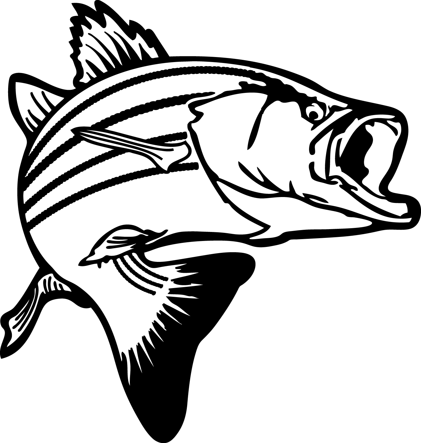 Bass Fishing Clipart Black And White   Clipart Panda   Free Clipart