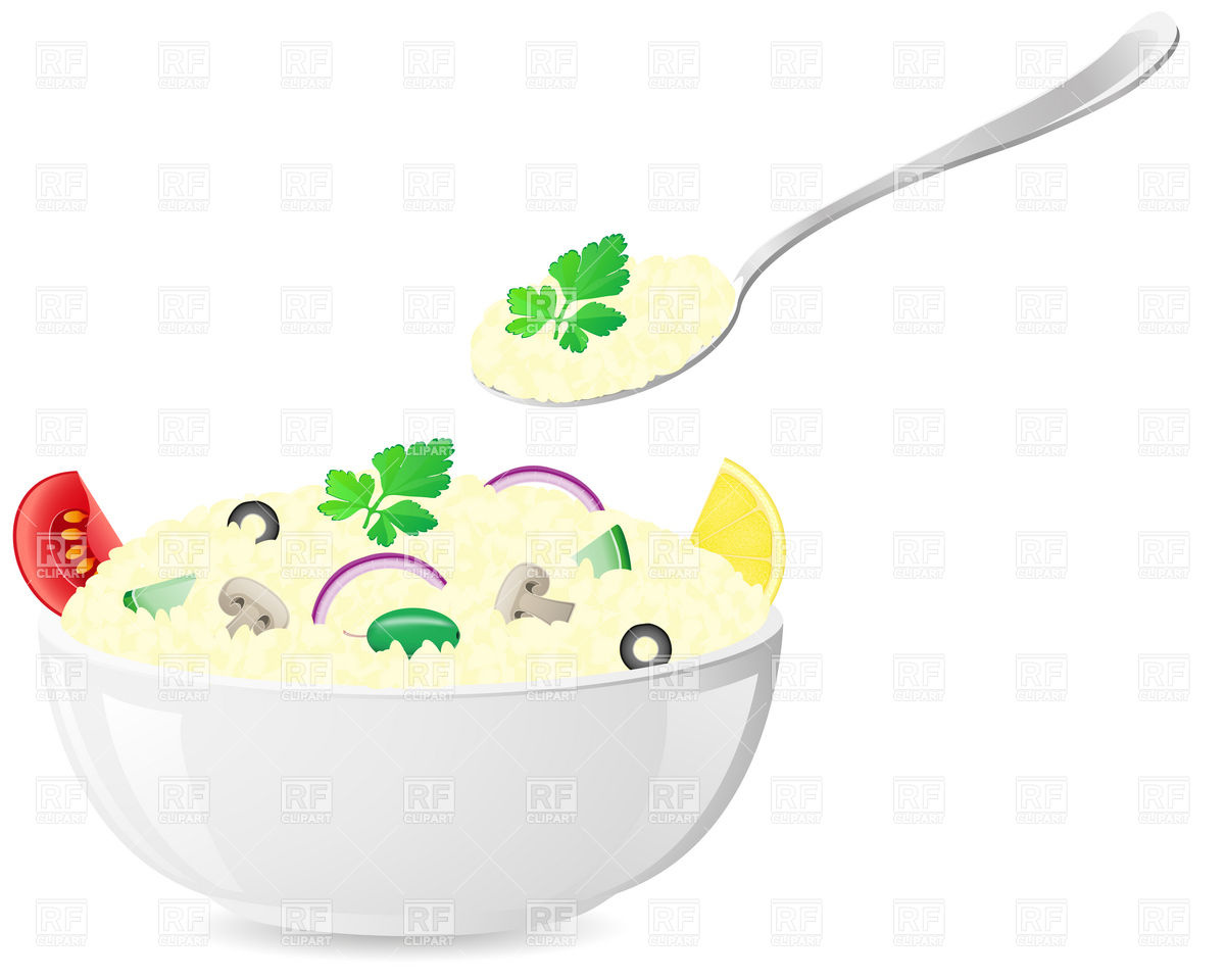 Bowl Of Porridge   Rice With Vegetables And Spoon Food And Beverages