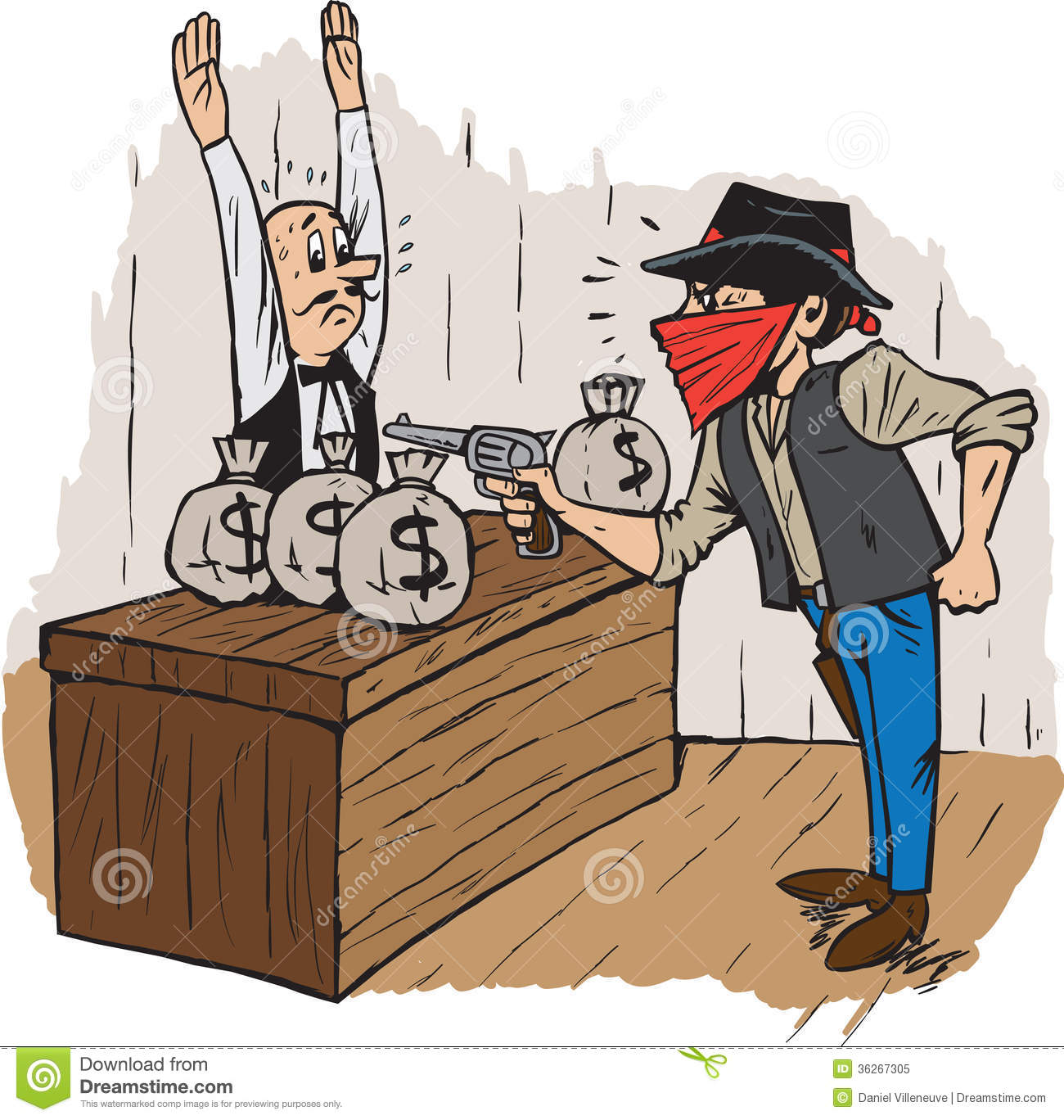 Cartoon Bank Robbers Bank Robbery Royalty Free