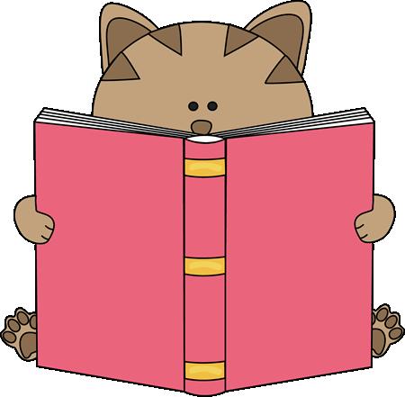 Cat Reading Book Clip Art Image   Cute Cat Reading A Big Book