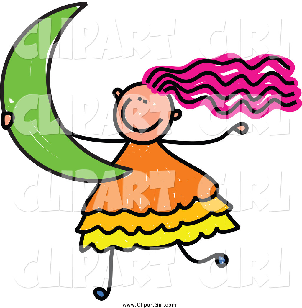 Clip Art Of A Pink Haired Girl Carrying A Crescent Moon By Prawny