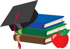 Education Graphic With Books Graduates Cap And Red Apple For Teacher