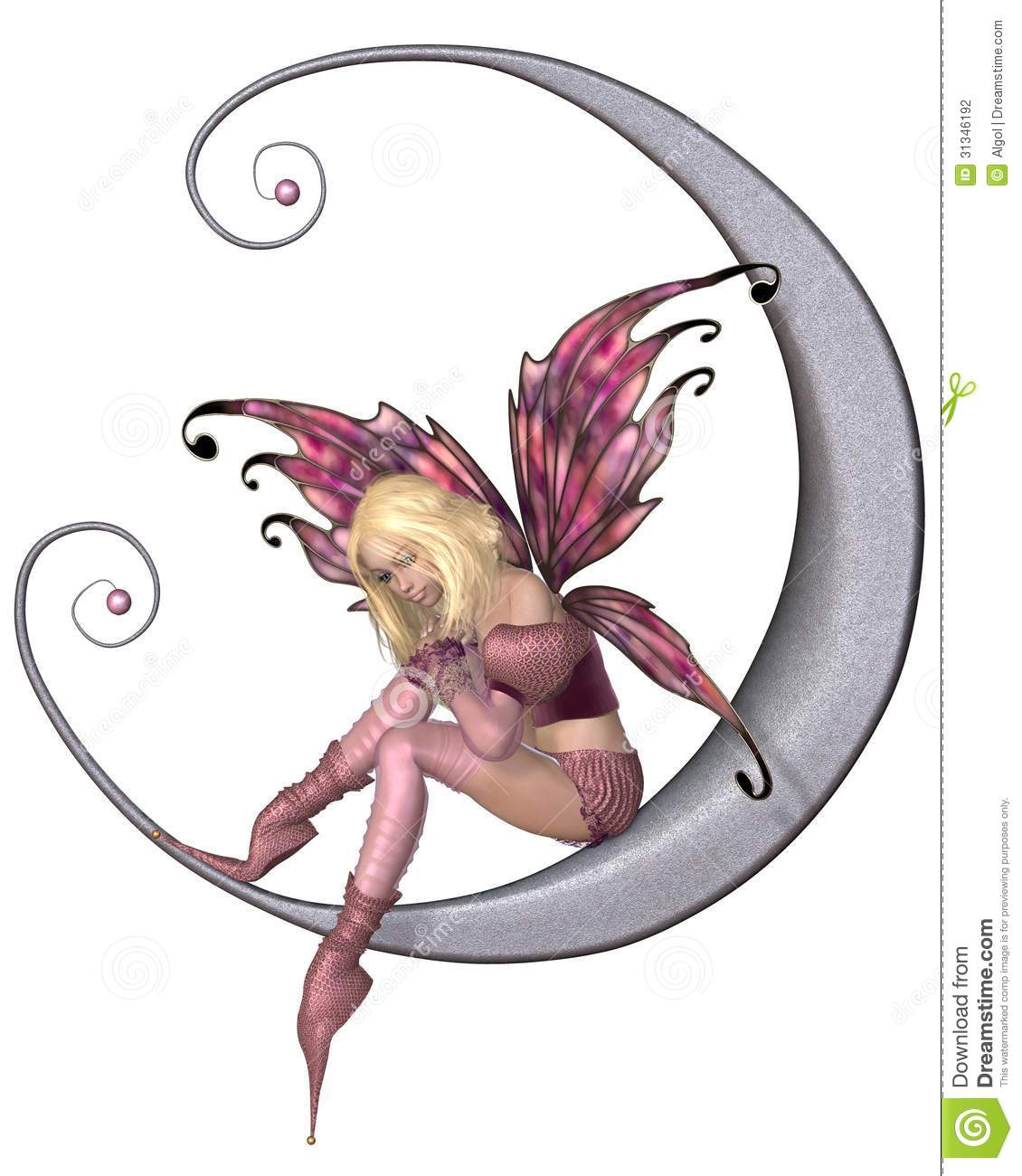 Fairy Dressed In Pink Sitting On A Silver Moon 3d Digitally Rendered