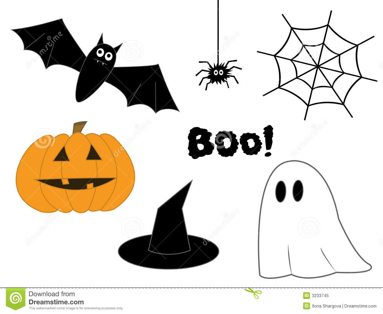 Halloween Clipart With Pumpkin Bat Spider Web Hat And Ghost