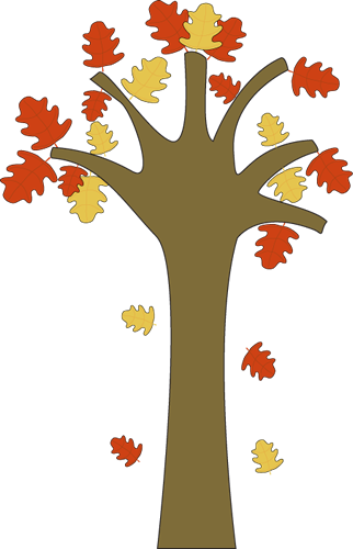 Leaves Falling From Tree Clip Art Image   Tree With Falling Colorful