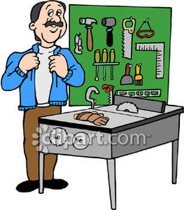 Man Surrounded By Tools And A Table Saw Royalty Free Clipart Picture