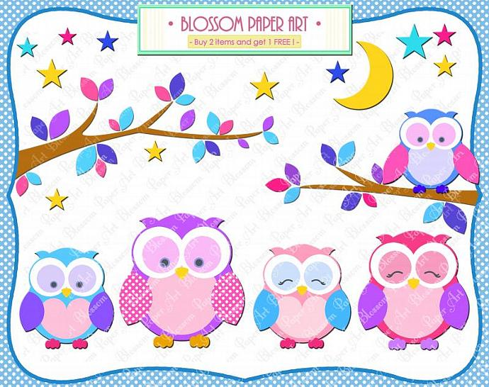 Owls Clipart   Printables   Pink Light Blue Violet   Branches   Moon