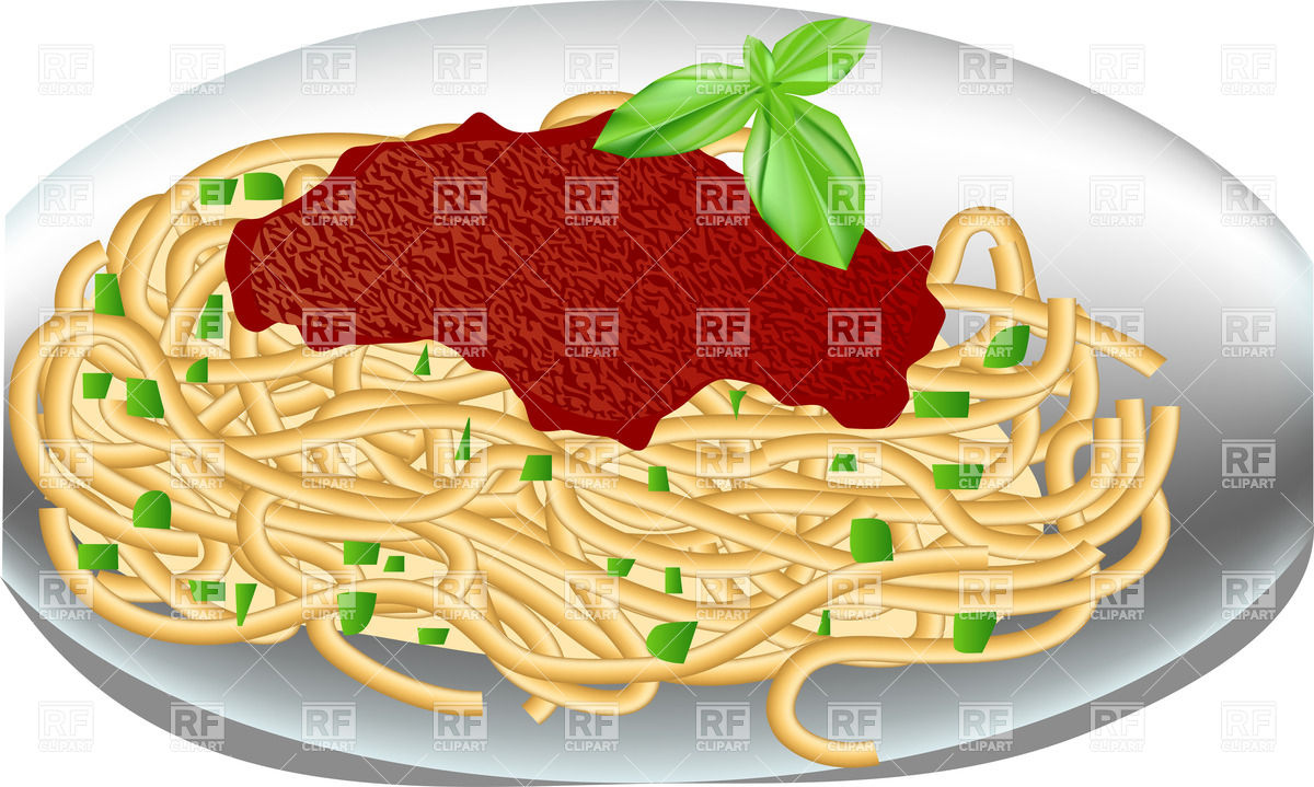 Plate Of Spaghetti With Tomato Sauce And Basil Download Royalty Free