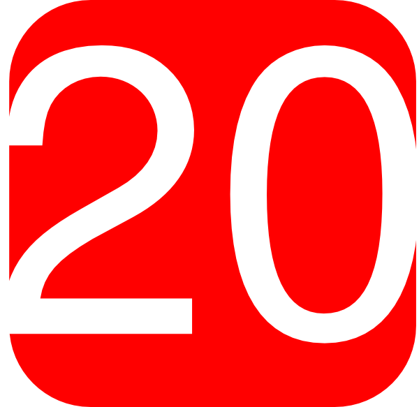 Red Rounded Square With Number 20 Clip Art
