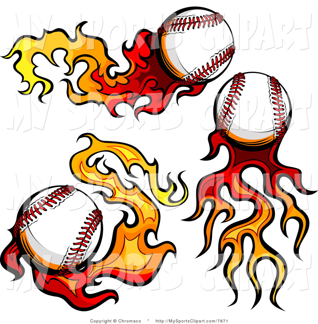 Royalty Free Sports Clip Art Of A Baseballs With Flame Trails  This