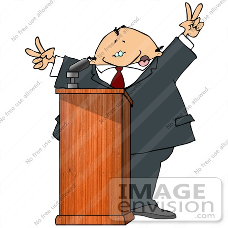 Silly Man At A Podium Giving A Passionate Public Speech And Gesturing