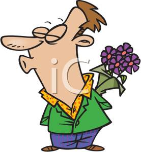 Silly Man Wearing Colorful Clothes Holding Purple Flowers Behind