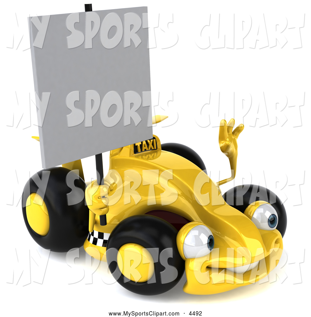 Sports Clip Art Of A 3d Yellow Formula One Race Car Holding A Blank