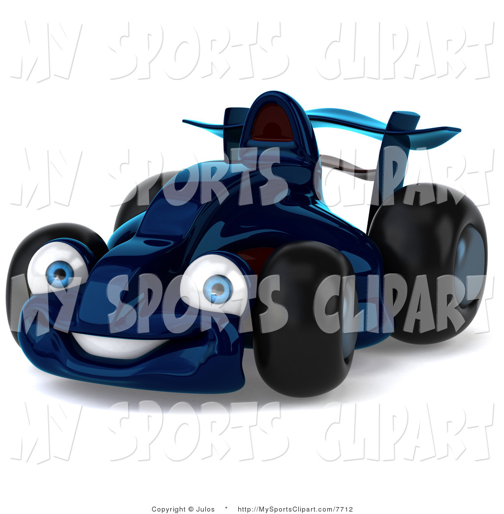Sports Clip Art Of A Blue Race Car